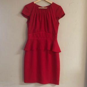 Muse Red Dress Cap Sleeve Peplum Exposed Zipper 6
